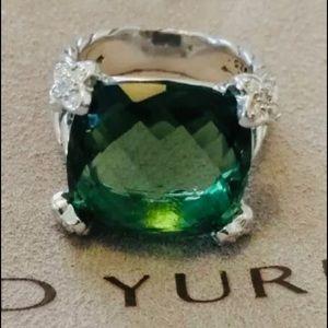 David Yurman Sterling, Prasiolite & Diamond Ring